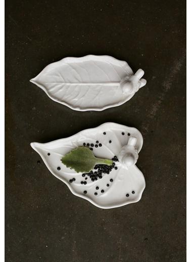 Warm Design Porselen Kuş Figürlü Yaprak Tabaka Beyaz